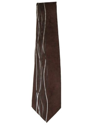 Dark brown silk tie with a silver, black and white design