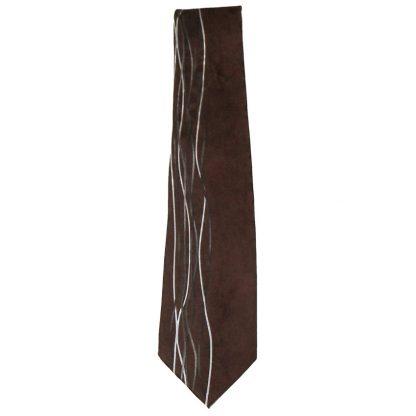 Dark brown silk tie with a silver, black and white design
