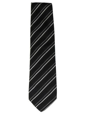 Black and white diagonal striped silk tie by Giorgio Armani