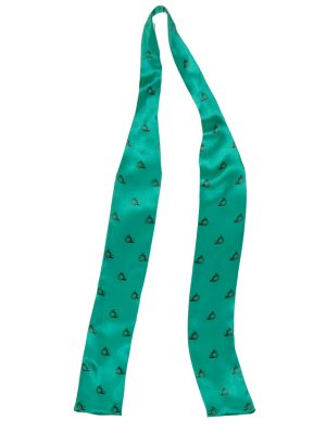 Narrow width green silk cravat with a brass horn design