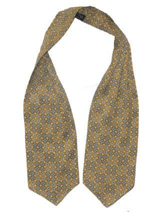 Grey and white design on a mustard background Tootal cravat