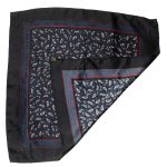 Paisley design black silk pocket square