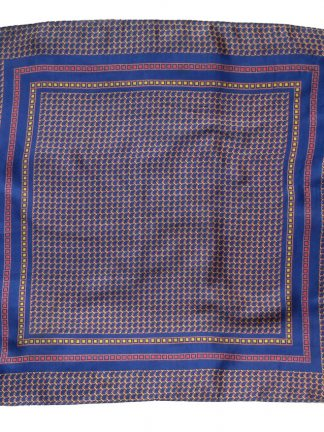 Red, blue and yellow geometric design silk pocket square
