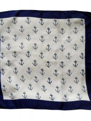 Silk pocket square with a dark blue border and a dark blue anchor design on a cream background