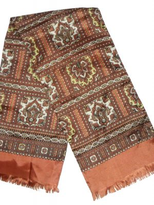Brown, cream and gold rayon scarf