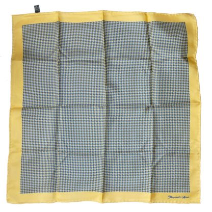 Turnbull & Asser yellow and blue houndstooth design silk pocket square