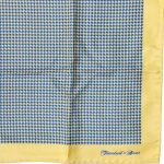 Turnbull and Asser huondstooth blue and yellow silk pocket square