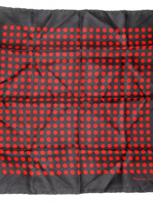 Turnbull & Asser red on black polka dot design silk pocket square