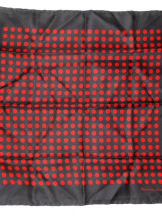Turnbull & Asser red on black polka dot design silk pocket square