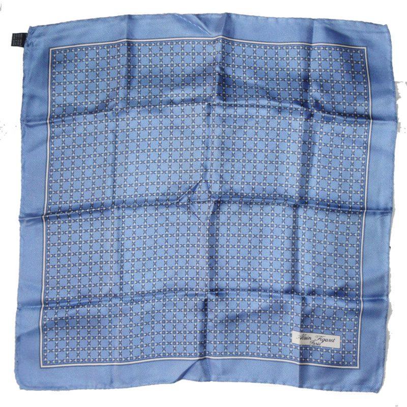 Alain Figaret blue silk hand rolled edge pocket square
