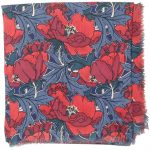 Liberty of London pure wool shawls with a floral design in a deep pink and blue