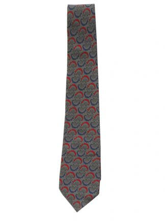 Chritian Dior Monsieur silk tie with a grey background and a red and blue design