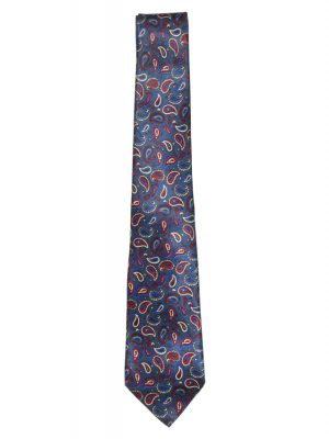 Chloe silk satin tie with a blue background and a red,white and blue paisley design