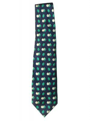 YSL silk tie with a green coconut design on a dark blue background