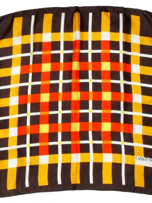 Odile St Germain Paris silk scarf with a yellow and red check design on a dark brown background