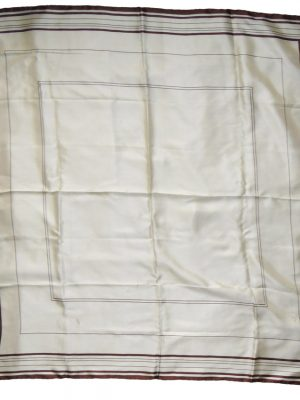 Selfridges cream silk scarf with a brown border