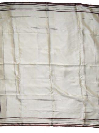 Selfridges cream silk scarf with a brown border