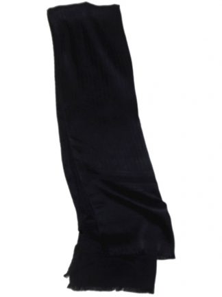 Long navy blue silk pinstripe scarf