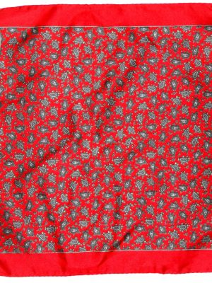 Red Silk pocket square with a paisley design