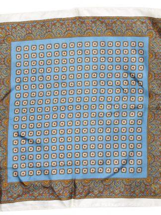 La Dear Italy, blue gold and white silk pocket square