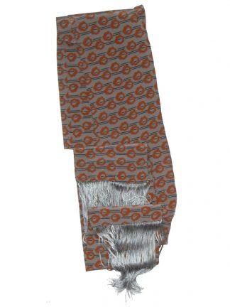 Long skinny grey and tan silk scarf