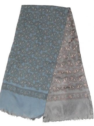 Reversible wool silk grey blue paisley design scarf