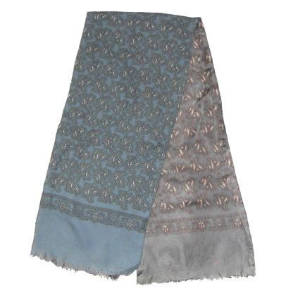 Reversible wool silk grey blue paisley design scarf