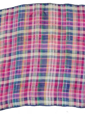 Checked silk square with hand rolled edges in multi colours