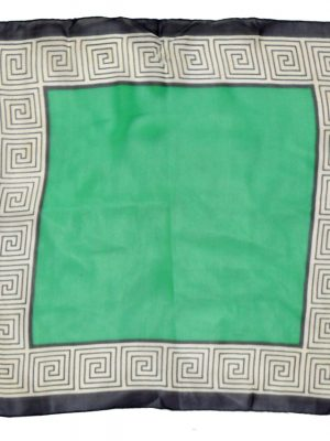 Greek key border sheer silk square