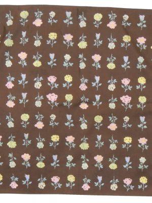 Brown silk floral design square