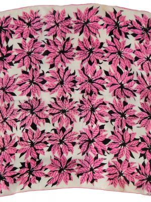 Pink poinsettia design silk square