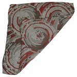 Richard Allan silk scarf with a circle design in red and grey