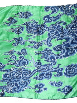 Richard Allan blue wave design on green background silk scarf