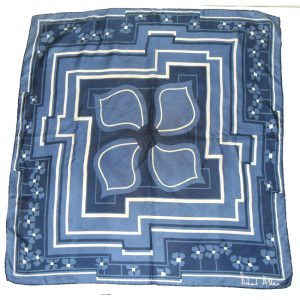 Richard Allan blue and white flower design silk scarf