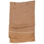 Long silk scarf by Echo with a gold background and red and grey circle design