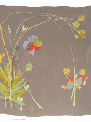 Belloth silk scarf with a brown background and an abstract flower design