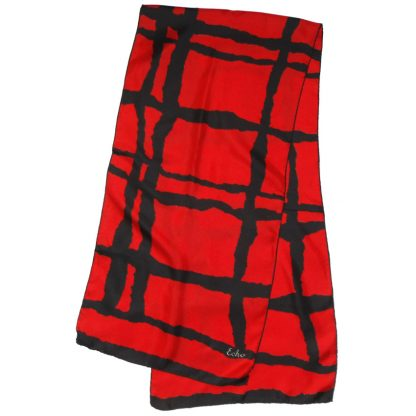 Echo red and black long silk scarf