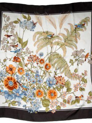 Bayron bird and flower design silk scarf