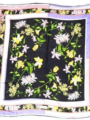 Basile flower design silk scarf
