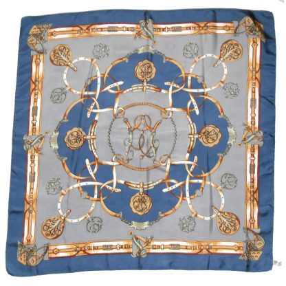 Vintage St Michael hand rolled edge saddlery design silk scarf