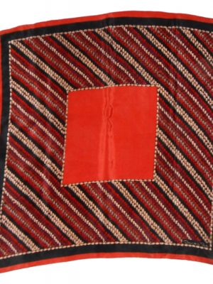 Oscar de la Renta silk scarf in a rust, red, black and gold design