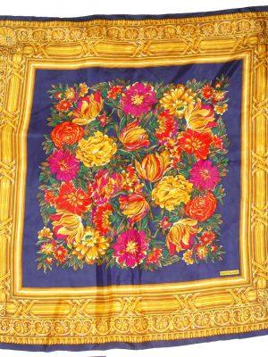 Harvé Benard flower design silk scarf