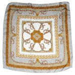 Silver and gold saddlery design silk scarf made in Italy
