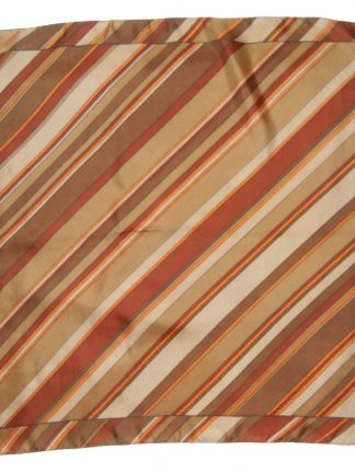 Silk scarf with diagonal stripe design in shades of brown