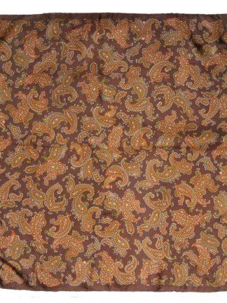 Brown paisley design silk scarf