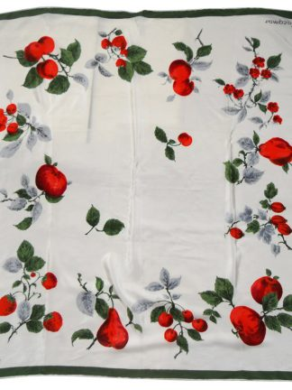 Jacqmar red fruit on cream background silk scarf