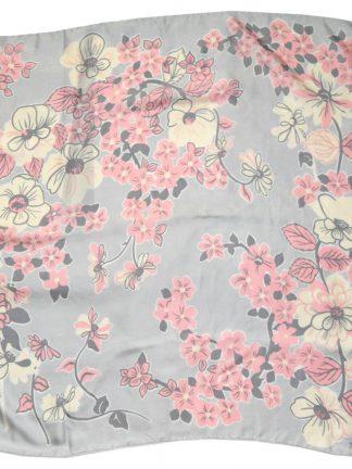 Jacqmar pink flower design silk scarf on a silver grey background