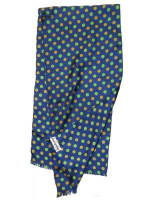 Jacqmar blue, green and orange spot design long scarf