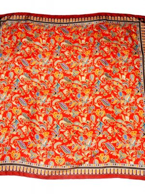 Singapore red design silk scarf
