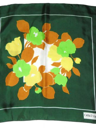 Odile St Germain Paris green background flower design silk scarf